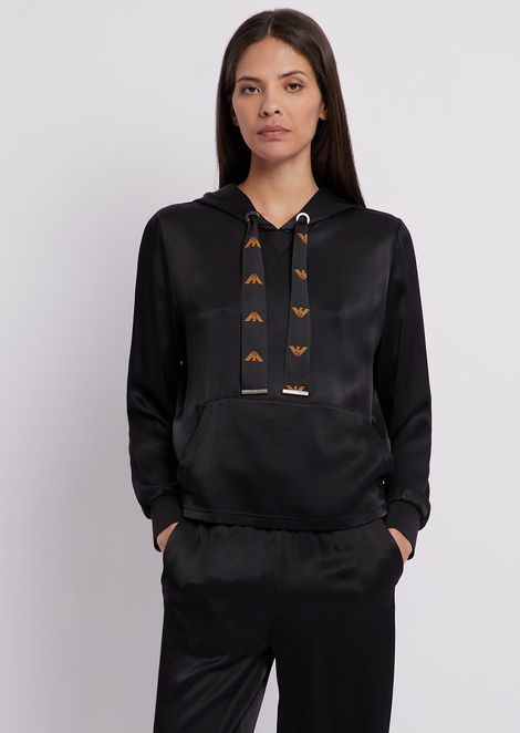 Hooded sweatshirt in satin with logoed drawstring