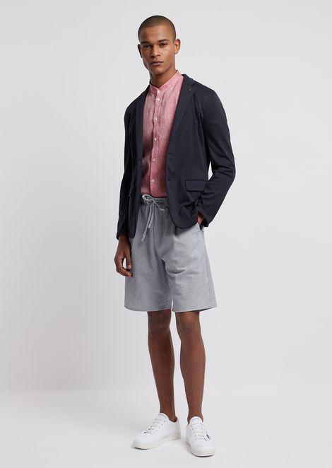 Short sleeved shirt in linen chambray