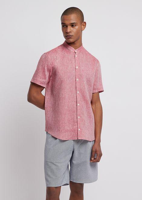 Chemise à manches courtes en chambray de lin
