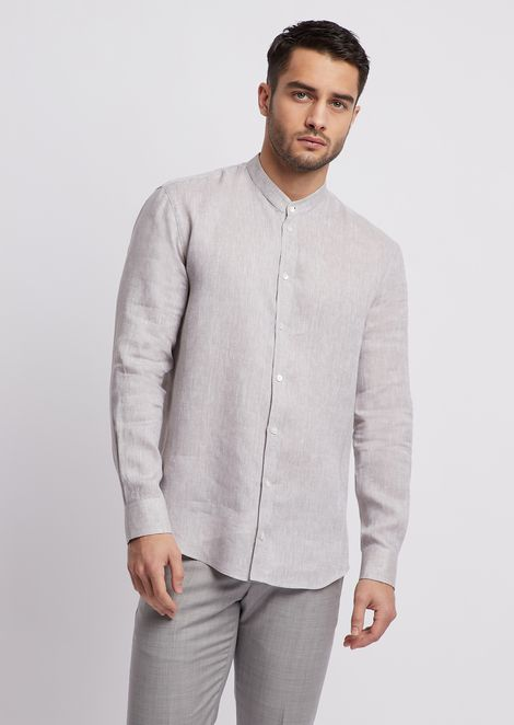 Linen chambray shirt with guru collar
