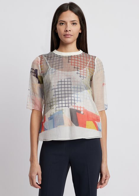 Silk and cotton blouse with geometric print