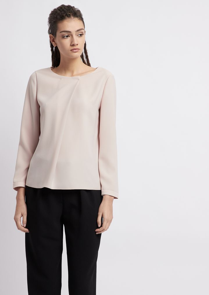 1a70129de8 Poly blouse with diagonal fabric flap