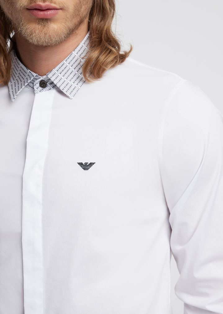 b7cf0596aa Shirt with detachable collar in solid poplin with all-over logo details