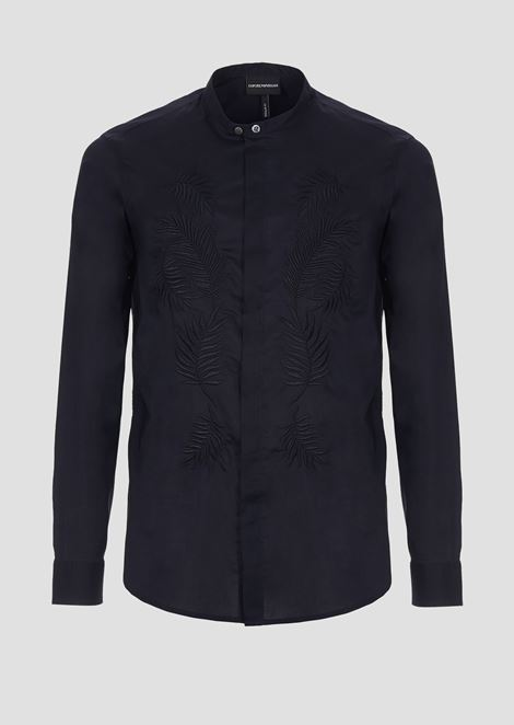 Shirt in embroidered Tencel cotton poplin