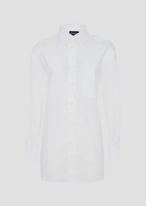 Garment-washed shirt in cotton muslin
