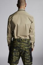 DSQUARED2 Cotton Military Shirt With Shiny Military Logo Print Shirt Man