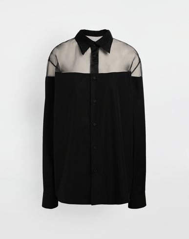 MAISON MARGIELA Décortiqué cotton-poplin shirt Long sleeve shirt Woman f