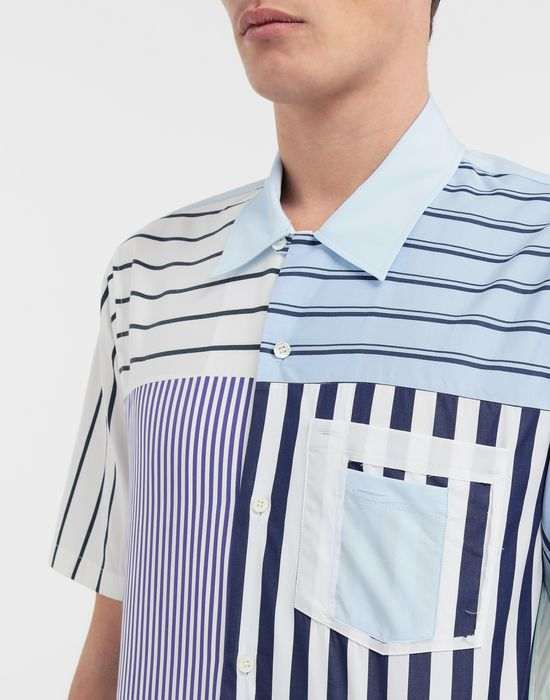 MAISON MARGIELA Asymmetric striped shirt Short sleeve shirt [*** pickupInStoreShippingNotGuaranteed_info ***] a