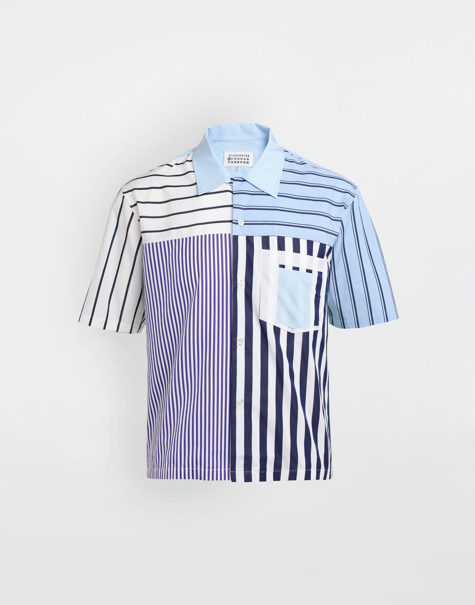 MAISON MARGIELA Asymmetric striped shirt Short sleeve shirt Man f