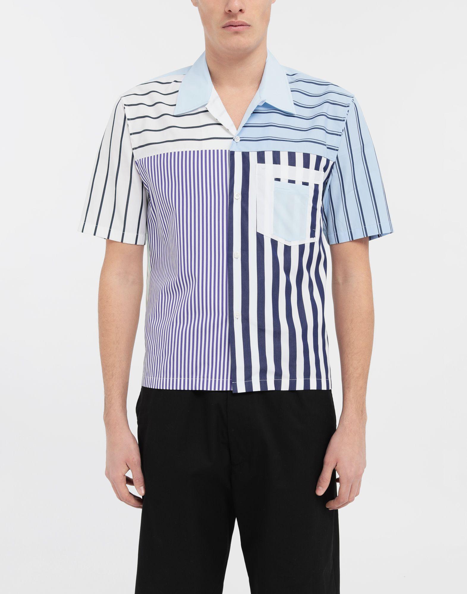 MAISON MARGIELA Asymmetric striped shirt Short sleeve shirt Man r