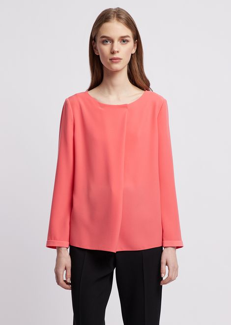 Poly blouse with diagonal fabric flap