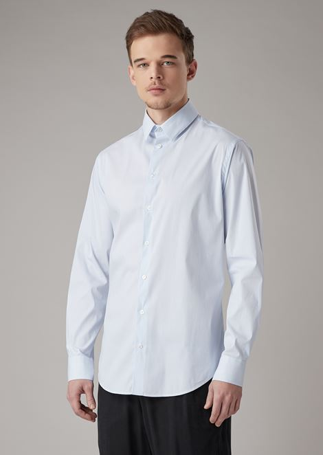 Slim-fit shirt in striped fil-à-fil fabric