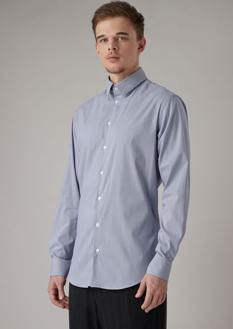 Slim-fit shirt in striped stretch fabric