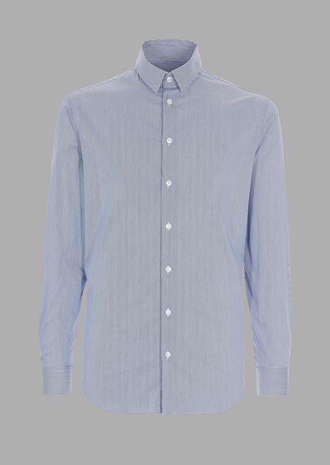 Slim-fit shirt in striped stretch fabric