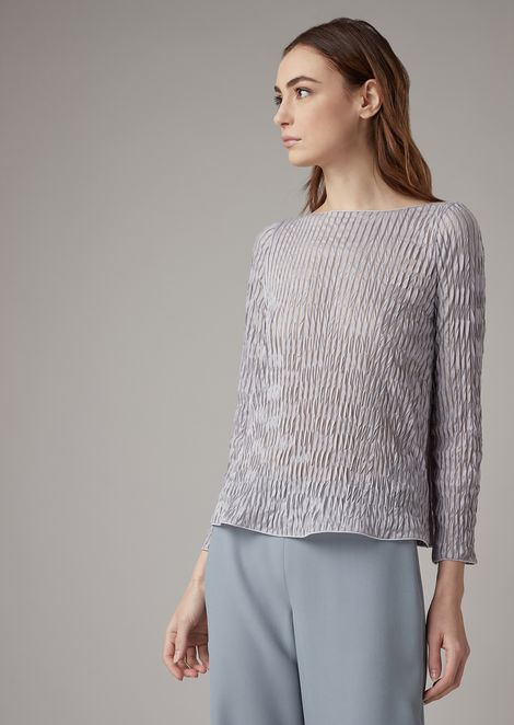Pleated jersey blouse with sheer vertical stripes