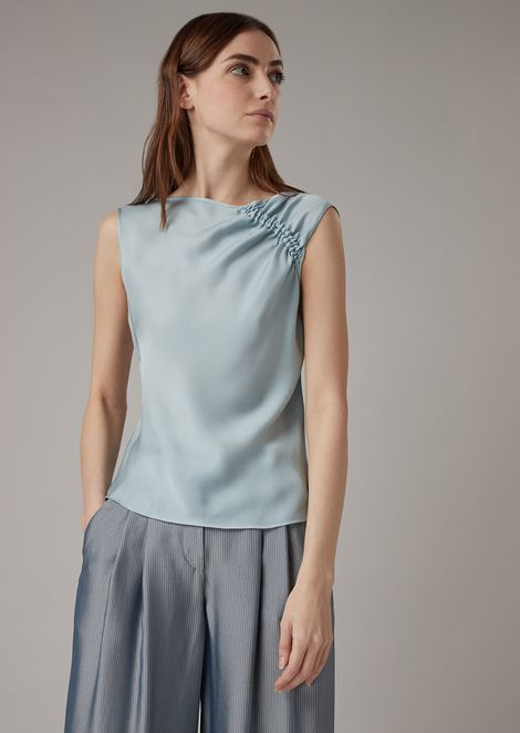 Silk charmeuse top with gathers on the shoulder