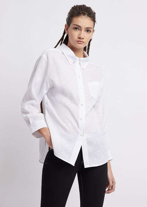 c109f003662b Oversized shirt in plain-woven linen with button-down collar