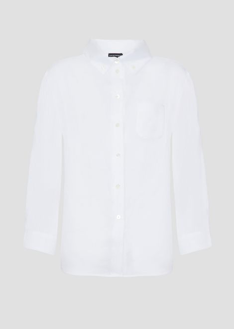 Oversized shirt in plain-woven linen with button down collar