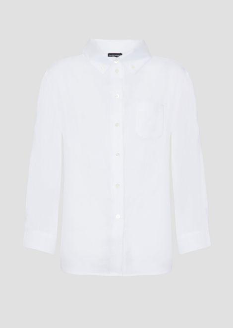 Рубашка оверсайз из льняной ткани своротником на пуговицах