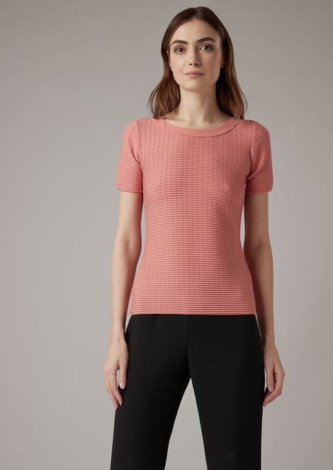 Stretch jersey knit with raised wave design