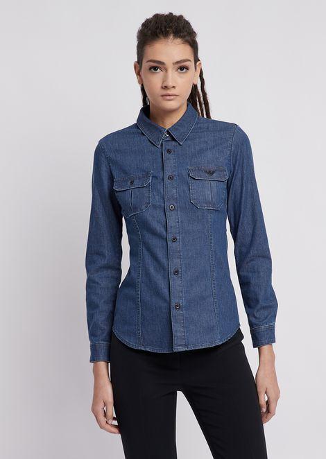 Light stretch cotton denim shirt