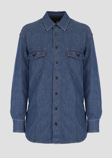 Stretch denim shirt with eagles appliqué