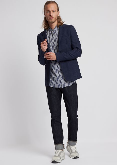 Shirt in geometric pattern cotton jacquard with guru collar