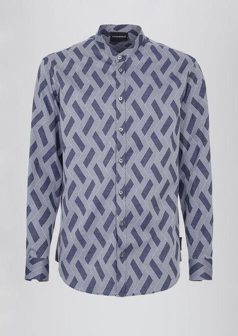 Shirt in geometric pattern cotton jacquard with guru collar