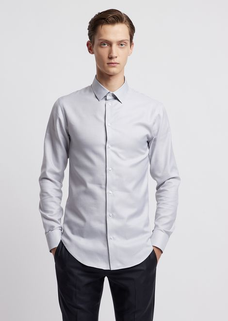 Slim fit micro-textured cotton shirt