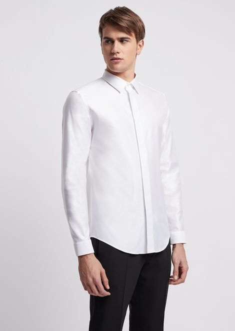 Slim-fit shirt in chintz-effect twill
