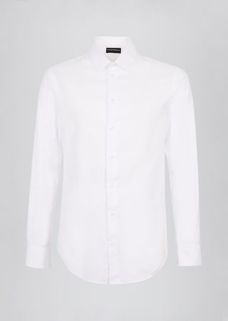 Slim-fit micro-textured cotton shirt