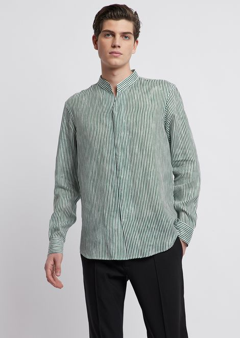 V neck shirt in stripy printed cotton