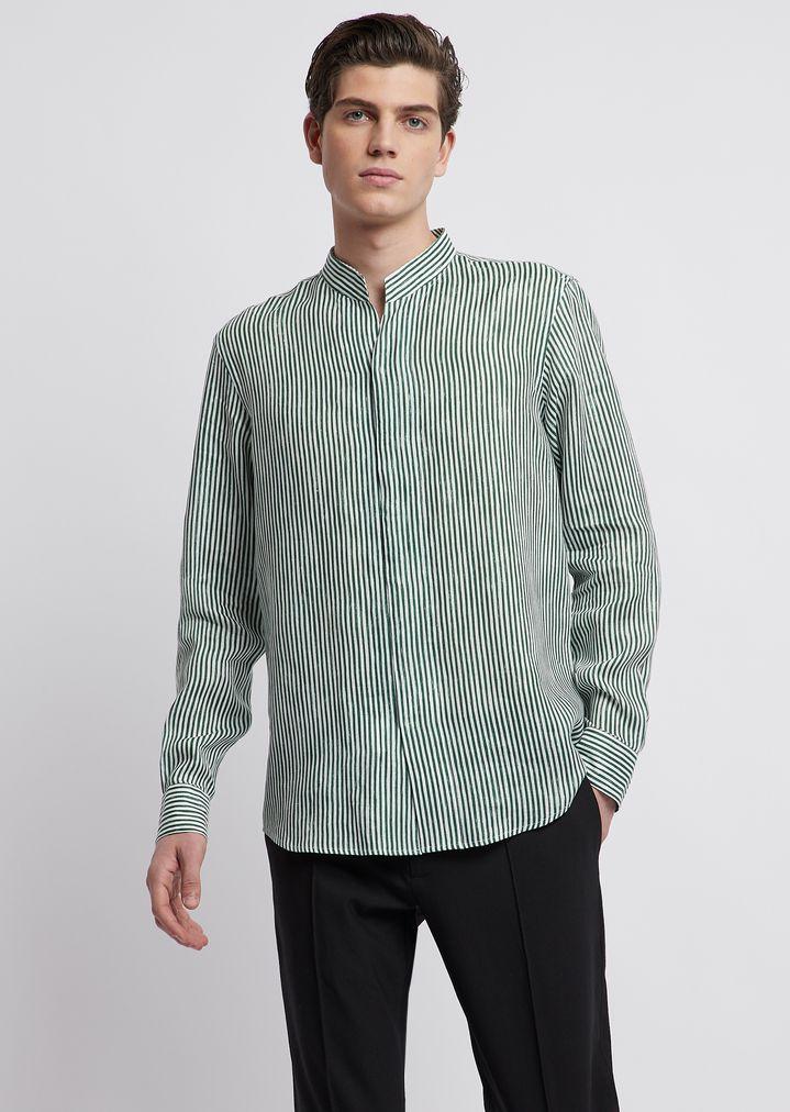ee27f9bb56 V-neck shirt in stripe-print cotton