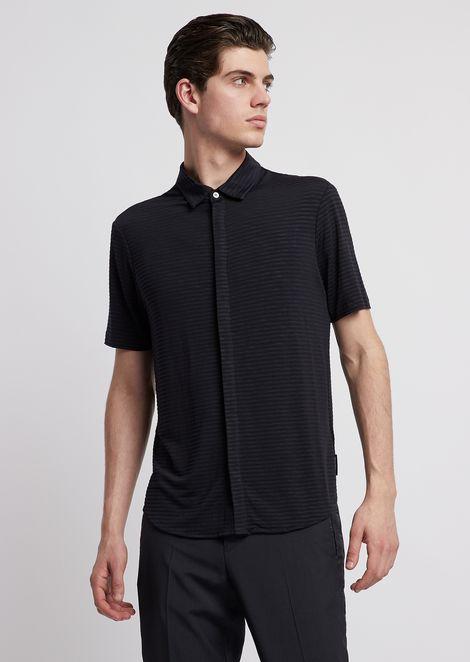 Chemise à manches courtes en jersey rayé