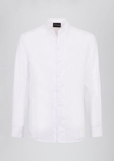 Slim-fit shirt in wave jacquard fabric with guru collar