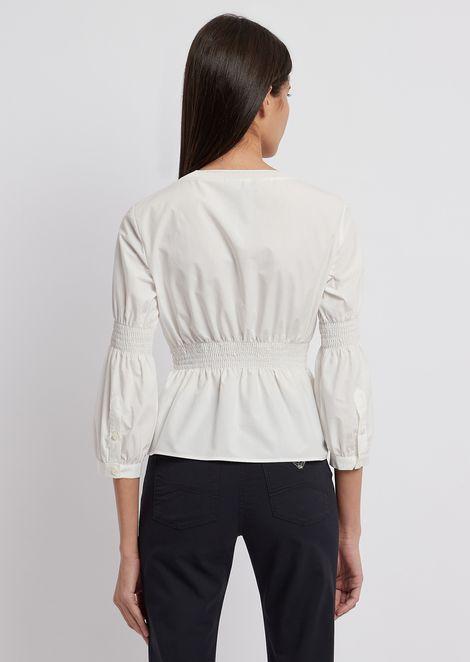 Blusa de algodón pelleovo teñido en prenda