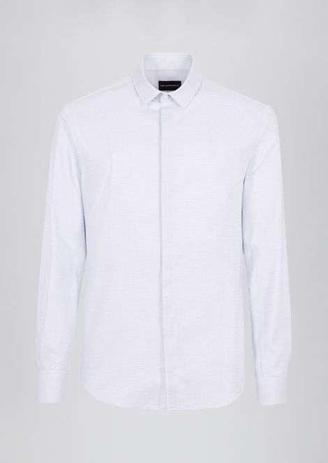 Textured cotton shirt with classic collar