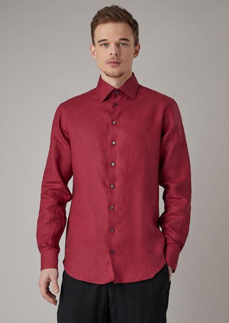 Camisa de corte regular en lino puro