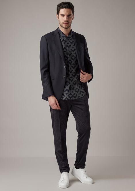 Camisa de corte regular de lyocell con exclusivo estampado geométrico por corrosión