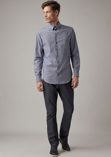 Slim-fit shirt in striped cotton poplin