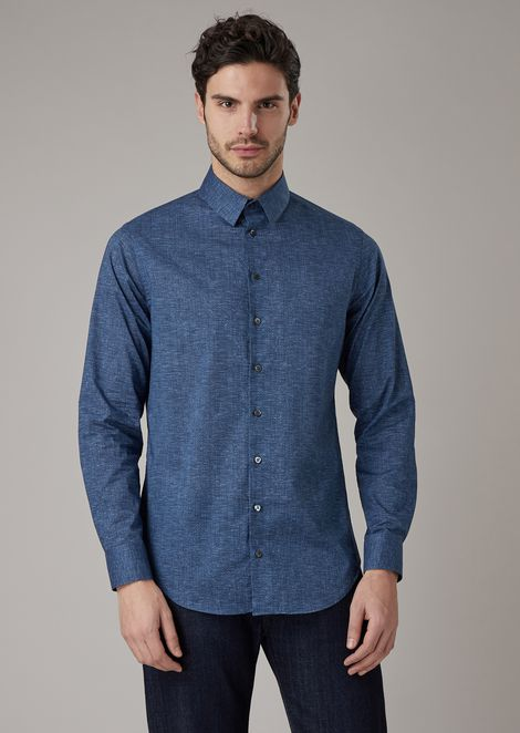 Slim-fit cotton shirt with optical-effect micropattern