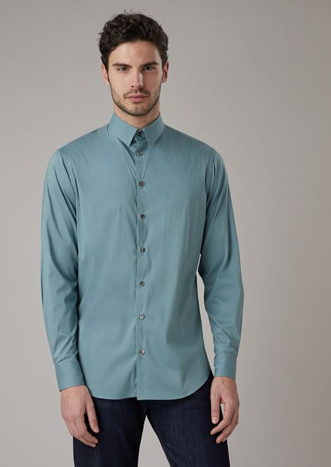 Regular-fit stretch cotton shirt with small-point collar