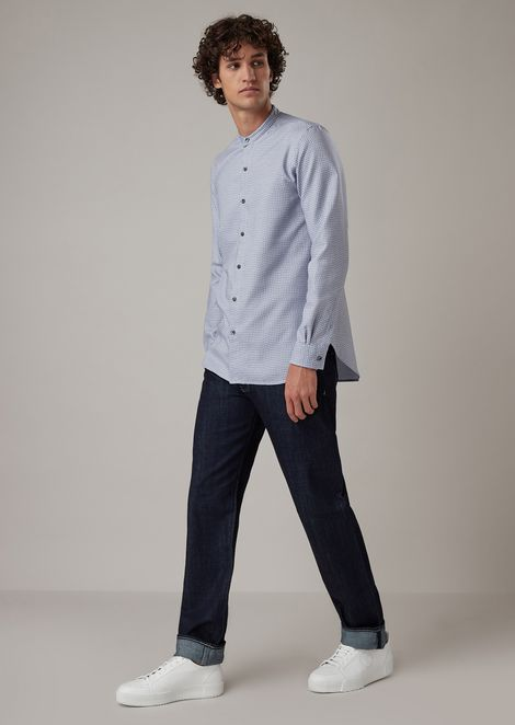 Regular-fit shirt in Vichy check jacquard fabric