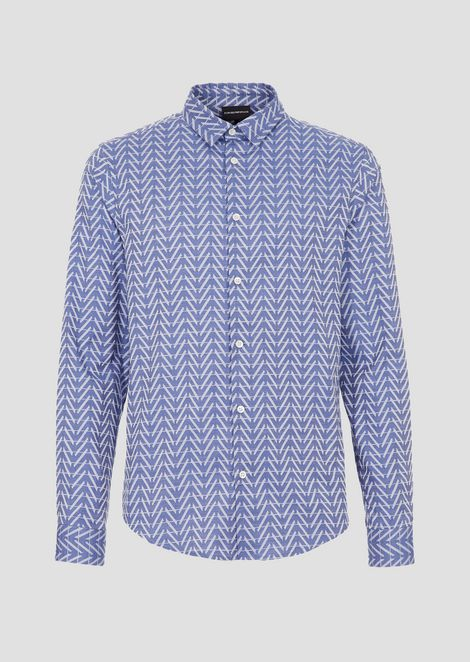 Stretch cotton shirt with jacquard logo