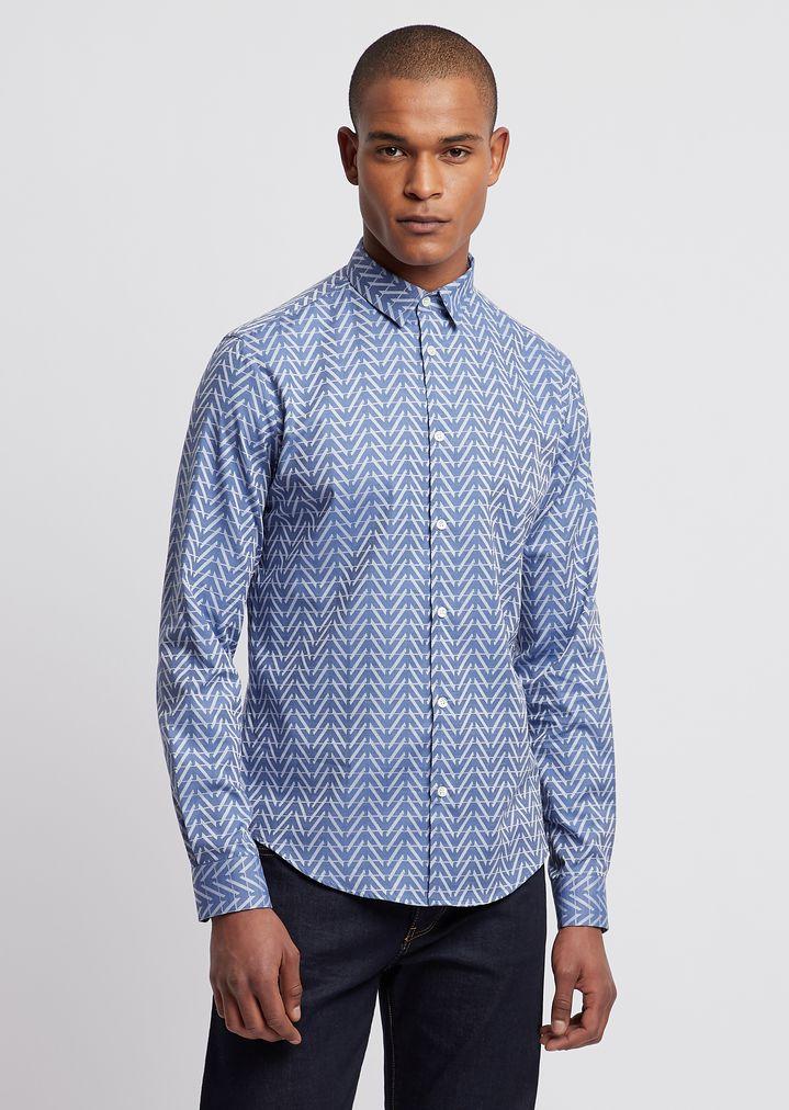 c0e1635a37 Stretch cotton shirt with jacquard logo