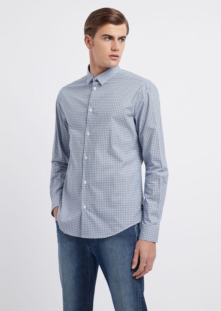 bef18f6530 Poplin stretch cotton all-over print shirt