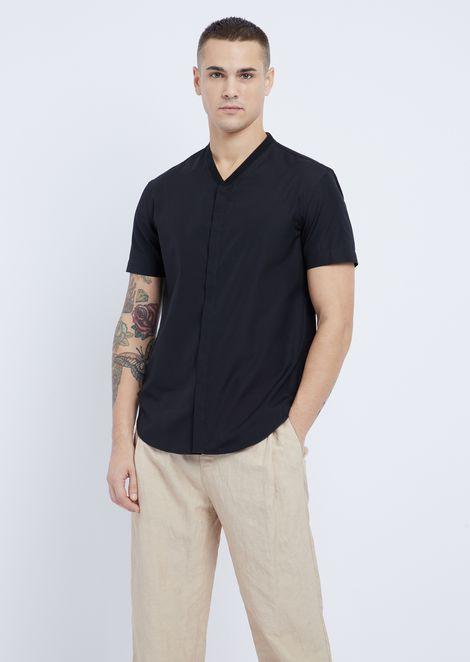 Chemise à manches courtes en popeline de coton avec logo à l'arrière du col