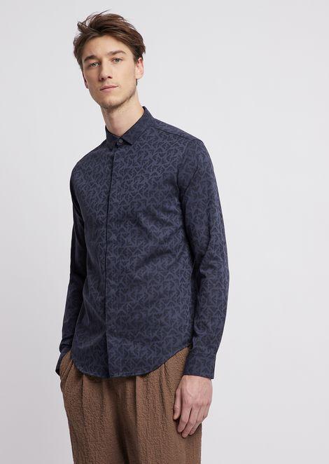 Shirt in jacquard poplin cotton with logo