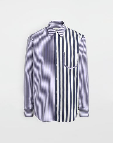 SHIRTS Asymmetric Décortiqué pocket striped shirt