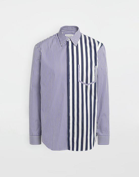 MAISON MARGIELA Asymmetric Décortiqué pocket striped shirt Long sleeve shirt [*** pickupInStoreShippingNotGuaranteed_info ***] f